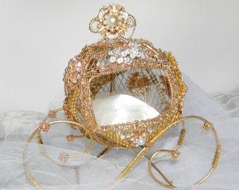 Ring bearer box carriage Cinderella ring bearer   Disney wedding cake topper centerpiece  Bridal. shower, birthday, Quinceanera. sweet 16