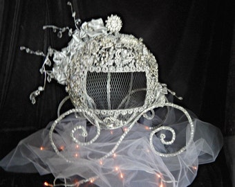 Cinderella Carriage Centerpiece card holder box , Fairytale wedding card holder, Disney card holder carriage coach