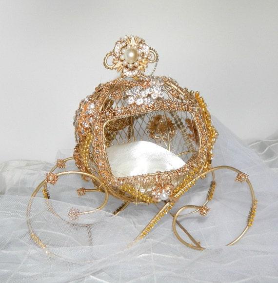 ring bearer box carriage cinderella ring bearer disney wedding cake topper centerpiece bridal shower - Cinderella Wedding Ring