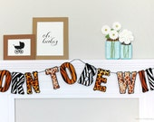 Born To Be Wild Safari Banner : Handcrafted Baby Shower Decoration | Zoo Party Decoration | Jungle Garland | Wild Animal Print Sign