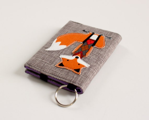 Fox keychain wallet business card wallet in foxes custom for Keychain business cards