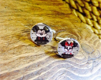 Mickie and minnie mouse cufflinks