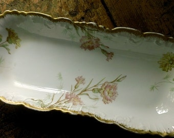 Antique FRENCH Porcelain LONG Dish