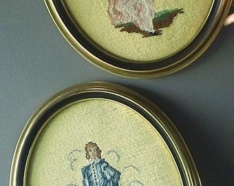 Vintage PinkGIRL & BlueBOY Needlepoint Wall Hangings