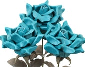 3 leather roses teal bouquet third Anniversary wedding gift Long Stem leather Flower Valentine's Day 3rd Leather Anniversary Mother's Day