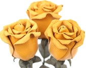Yellow leather rose bouquet third Anniversary wedding gift Long Stem leather flower Valentine's Day 3rd Leather Anniversary Mother's Day