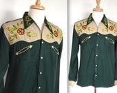 Vintage 1940's Western Shirt // 40s 50s Forest Green Gabardine Embroidered Rockabilly Western Shirt // DIVINE