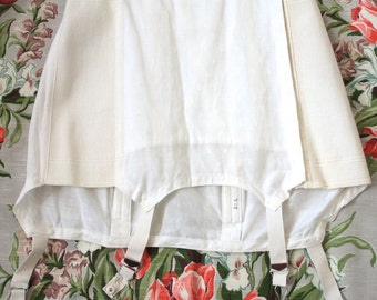 Vintage 1950s Girdle // 50s White Girdle Slip with Garters // Pin Up // DIVINE