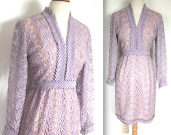 Vintage 1960's Dress // 60s Lavender Purple Crochet Lace Party Dress // Spring Romance // DIVINE