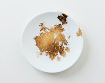 Gold Leaf Catchall Dish (Circle)