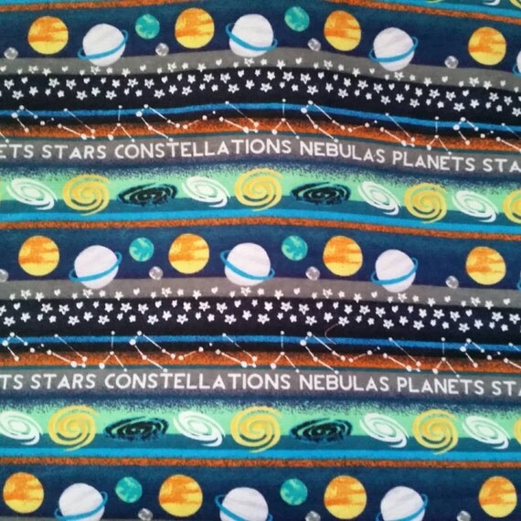 Kids flannel fabric space planets stars glow in the dark for Space flannel fabric