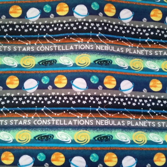 Kids flannel fabric space planets stars glow in the dark for Space themed fleece fabric