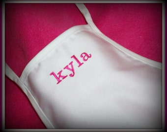 Toddler Childs WHITE or HOT PINK  personalized apron chef cooking / pre-school art  pre-school toddler size
