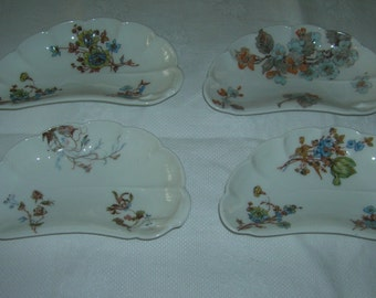 4 Antique Vintage Haviland Limoge China Bone Plates Dishes, Circa 1879-1889