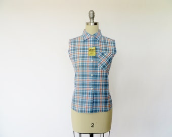 Vintage 1940s Blouse / 1950s Blouse / Plaid Cotton Shirt / Blue & Pink / Size 12