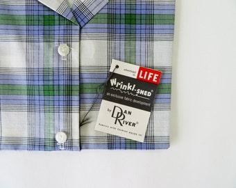 Vintage 1940s Blouse 1950s Blouse / 1940s Shirt Plaid Shirt 1950s Shirt / Dan River Fabric Plaid / Deadstock 40s 50s Size 12