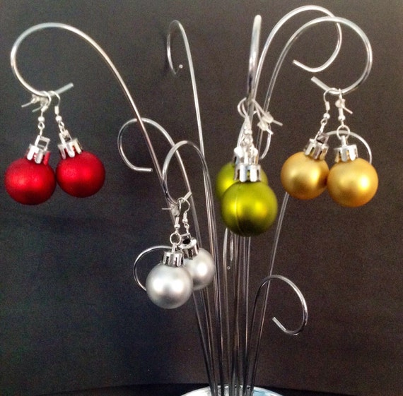 Christmas ornament earrings solid colors disco ball by