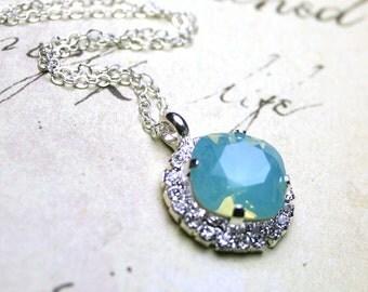 Swarovski Crystal Cushion Cut Stone Pendant in Pacific Opal - Rhinestone Bezel Necklace in Blue - Sterling Silver
