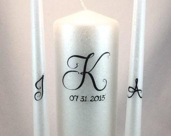 Wedding Unity Candle Set, monogrammed