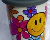 Lidded Ceramic Coffee Mug Hippie Flower Power Smiley Face Double Walled