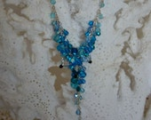 Vibrant Blues Waterfall Cluster Y-Necklace