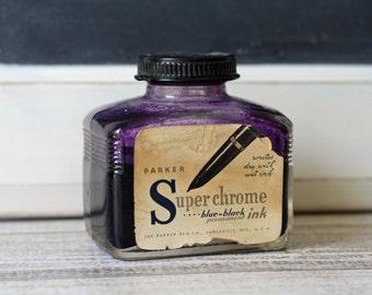 Vintage Ink Bottle Superchrome Blue Black Ink Vintage Art Supply Office Collectible
