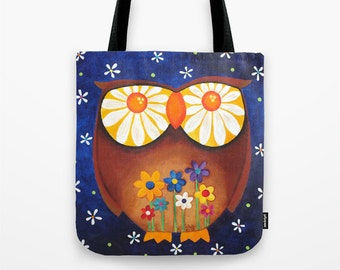 Large Tote, Owl with Daisy Eyes, Art Print Tote