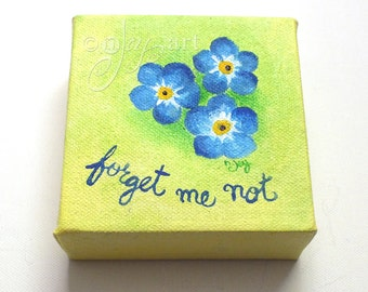 Forget Me Not, Miniature Painting, Daily Doodle, 6/11/15 4x4 Miniature acrylic canvas art