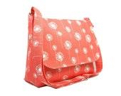 Women's Messenger Bag, Coral Dandelion Purse, Canvas Crossbody Bag, Shoulder Bag, Fabric Purse, Medium Dandelion Pocketbook, Cross Body Bag