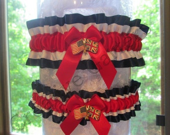 British-American Handcrafted Garter set. Two countries in one garter.