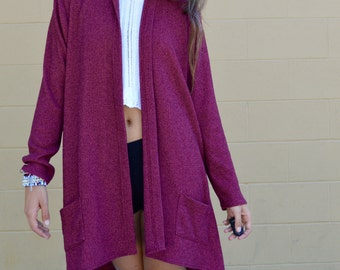 Vintage Dusty Maroon Duster KIMONO Jacket with Open Sides by Linda Lundstrom