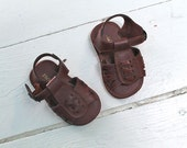 vintage baby's shoes - SLIX 'N STONES brown faux leather shoes / infant size 3