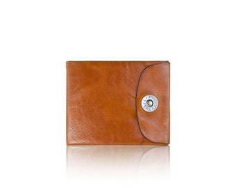 Mens BIFOLD wallet - slim SLOWDESIGN leather wallet - - LIGHTBROWN