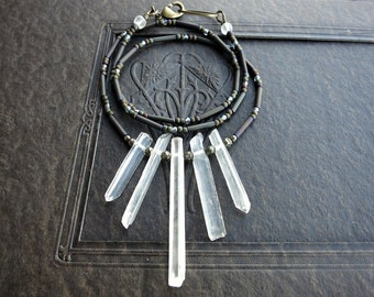 Quartz Crystal Fan Necklace, dainty rustic white and gray Bohemian tribal jewelry with natural rough crystal spikes