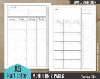MONTH on 2 pages | Simple Collection | A5/Half size letter Inserts | A5 Monthly planner | PDF files
