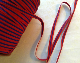 """Red Blue Trim 1/2"""" wide, 5 Yards of Ribbon Trim, Decor, Packaging, Scrapbooking, Craft Supply, Retro, Classic"""