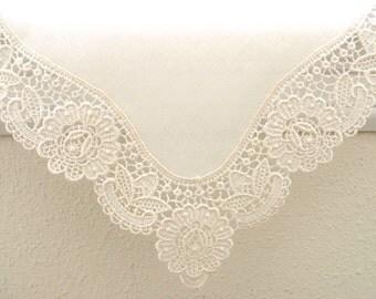 Bridal Accessories: Wedding Handkerchief, Cream Color German Plauen Lace Handkerchief Style No. 40735 with Classic 3-Initial Monogram