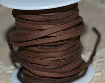 2 Yards 3mm Cord Deertan Leather Lace 1/8-inch Soft Chocolate
