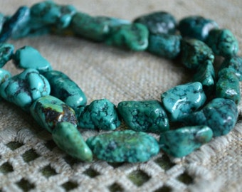Turquoise Natural Gemstone Beads Nugget 16 Inches Strand Blue Green 10 - 15mm