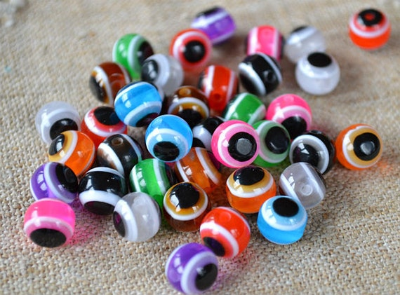 300pcs Bead Resin Mixed Colors 10mm Round Evil Eye Protection Beads