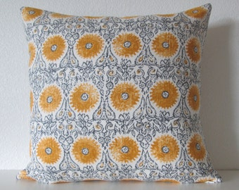 Duralee Riya Blend Yellow suzani medallion decorative pillow cover