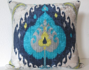 Samarkand Peacock colorful blue yellow velvet ikat decorative pillow cover