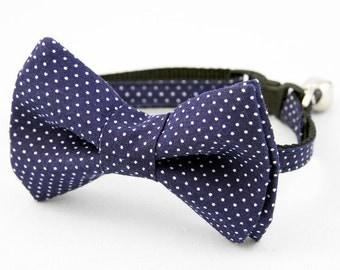 Cat Bow Tie Collar Navy Pin Dot