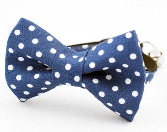 Aqua Dot Bow Tie Cat Collar