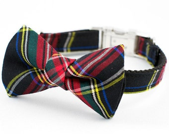 Bow Tie Dog Collar - Red and Black Tartan