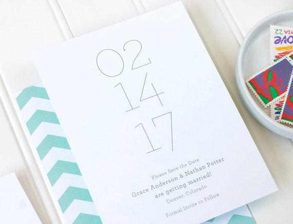 Minimalist Save the Date - Simple Letterpress Save the Date, Chevron Letterpress, Foil Stamp, Flat Printing - Minima - DEPOSIT