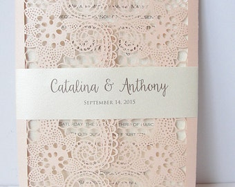 Laser Cut Wedding Invitation, Lace Laser Cut Wedding Invite, Lace Wedding Invite, Rustic Wedding Invitation, LACE - 1 CORAL BLUSH