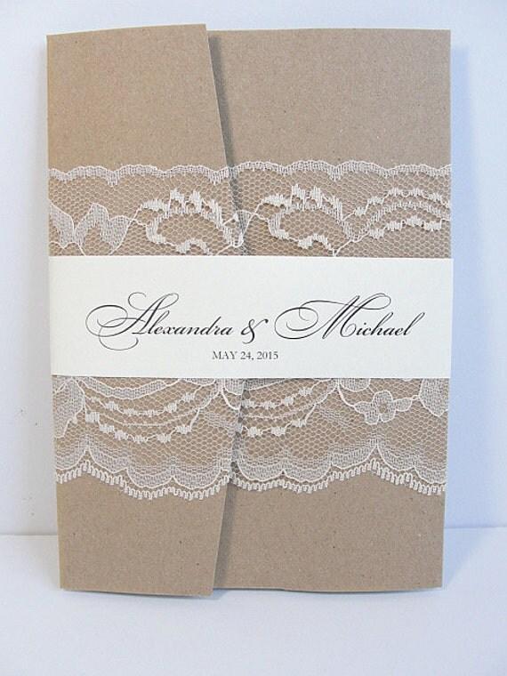 Lace Wedding Invitation, Lace Wedding Invite, Wedding Invitation, Vintage Wedding Invite,  Country Wedding, AMY-RUSTIC