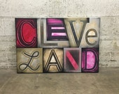 Cleveland No. 64 Large Block Lettering Painting on Canvas 24 x 36