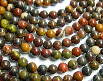 Red tiger iron -  8 mm round beads -1 full strand - 50 beads - A quality - RFG284